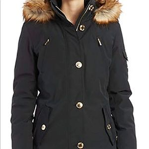 Michael Kors Button Front Down Coat with Faux